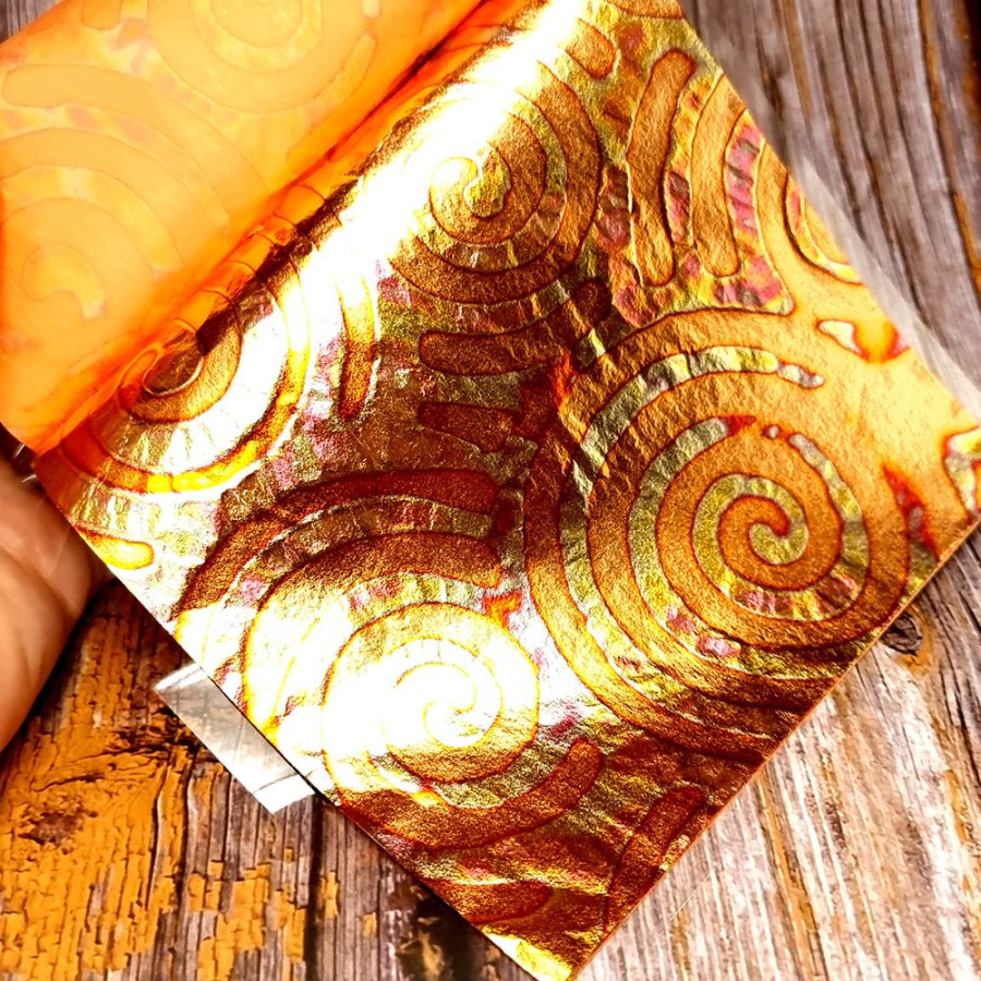 Pink-Copper Swirls Metal Leafs