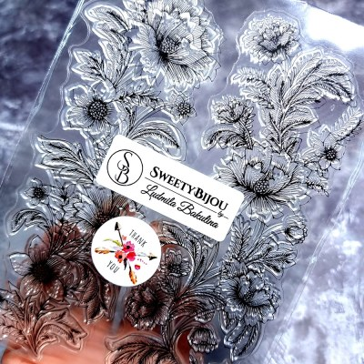 Roses transparent clear silicone stamp