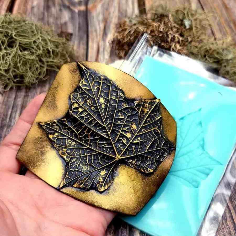 Five fingers Leaf - Handmade texture-mold of real leaf