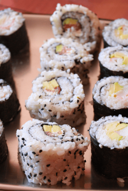 california rolls avocat saumon fromage