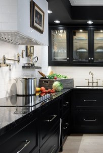 Black Kitchen Design Ideas With White Color Accent 22