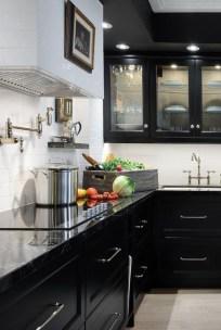 Black Kitchen Design Ideas With White Color Accent 22