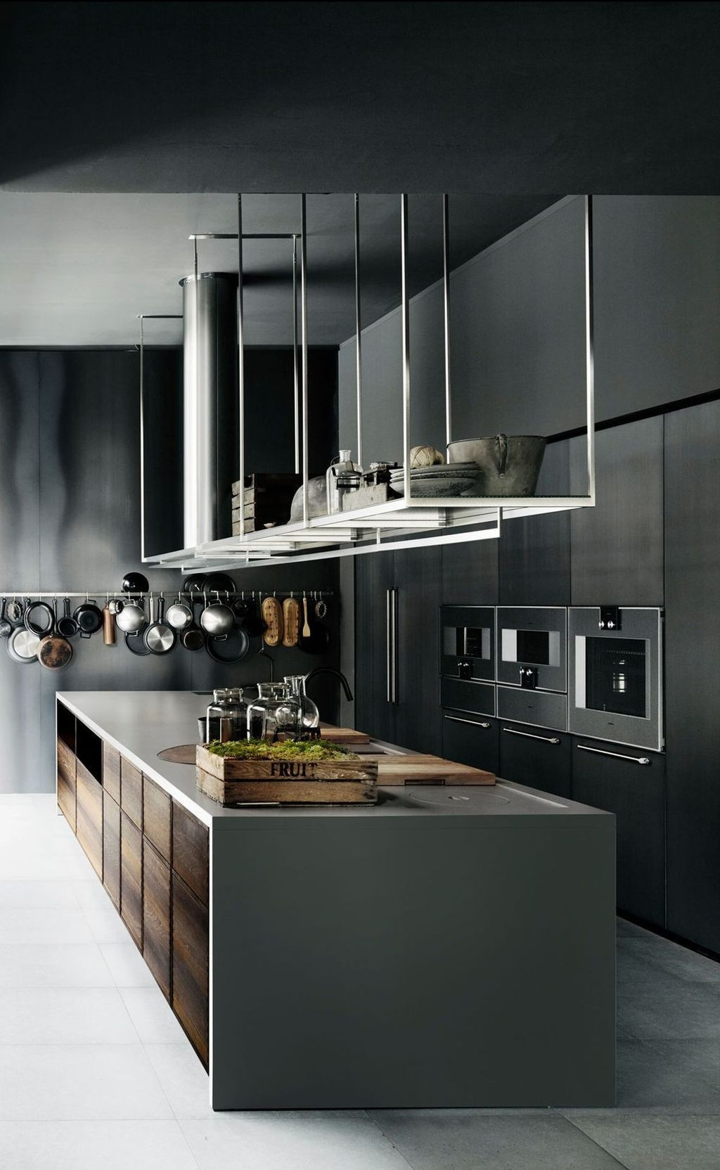 Black Kitchen Design Ideas With White Color Accent 26