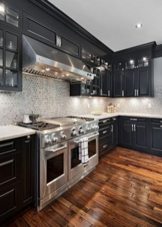 Black Kitchen Design Ideas With White Color Accent 28