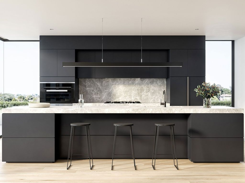 Black Kitchen Design Ideas With White Color Accent 36