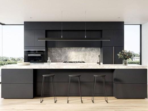 Black Kitchen Design Ideas With White Color Accent 36