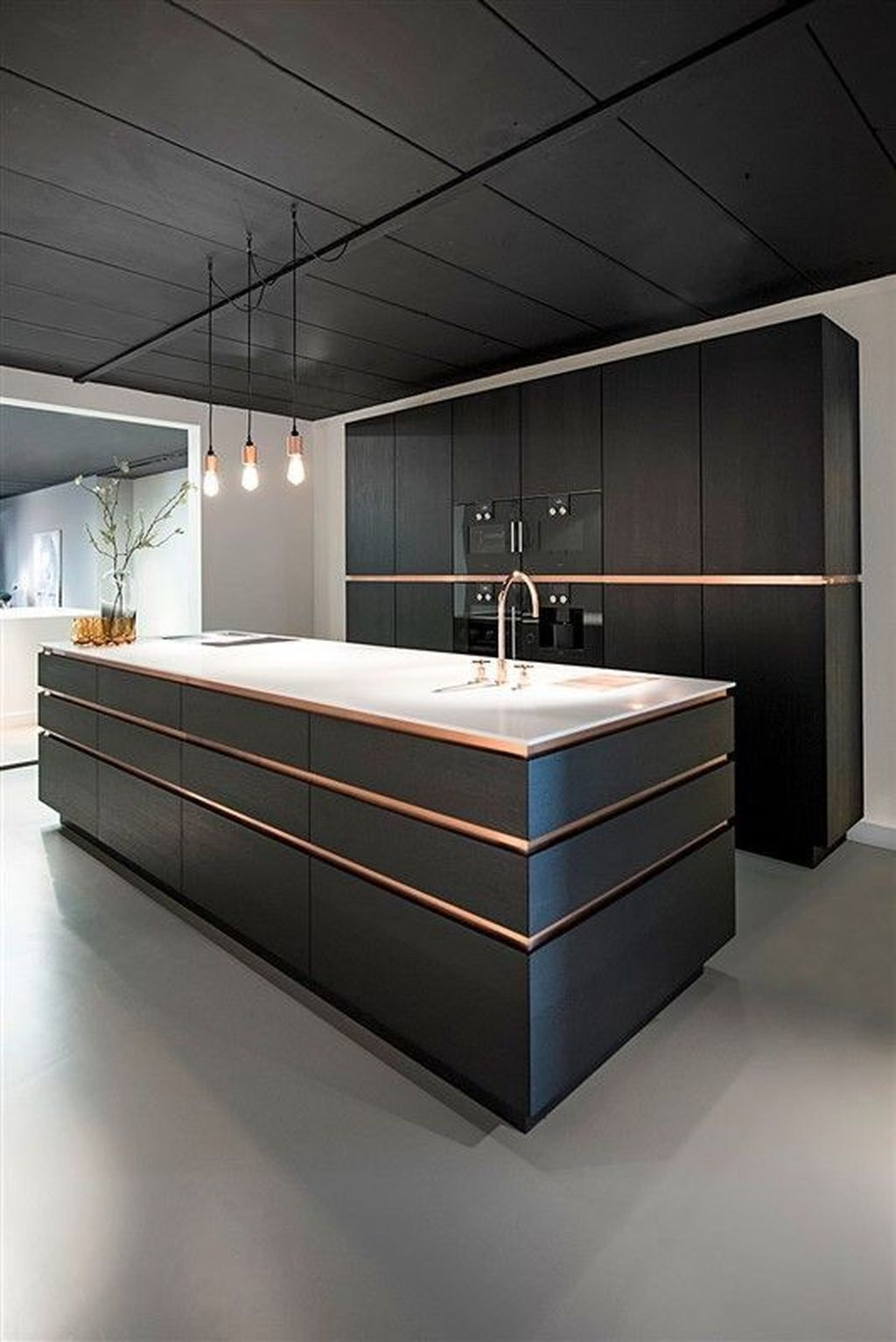 Black Kitchen Design Ideas With White Color Accent 40