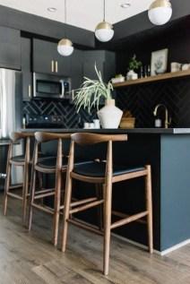 Black Kitchen Design Ideas With White Color Accent 42