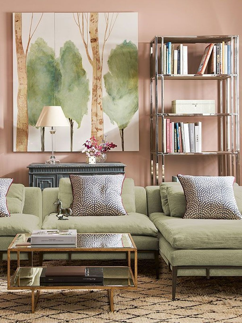 Lovely Pink Living Room Decor Ideas 15