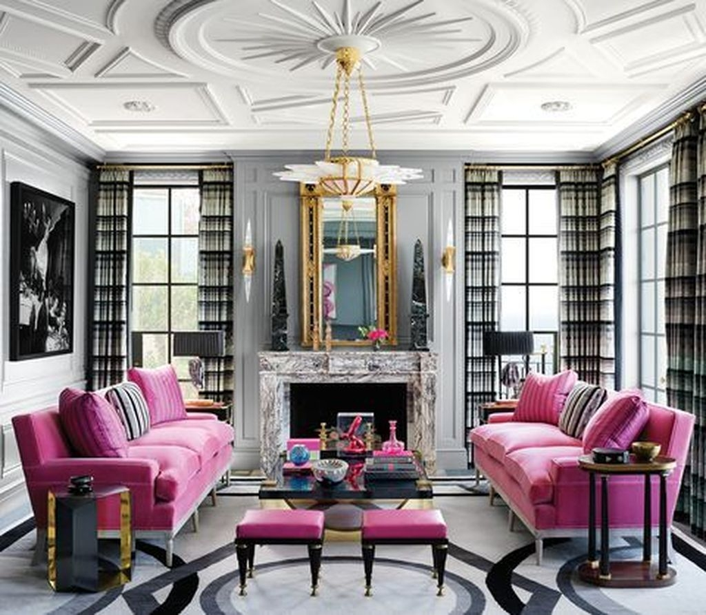 Lovely Pink Living Room Decor Ideas 28