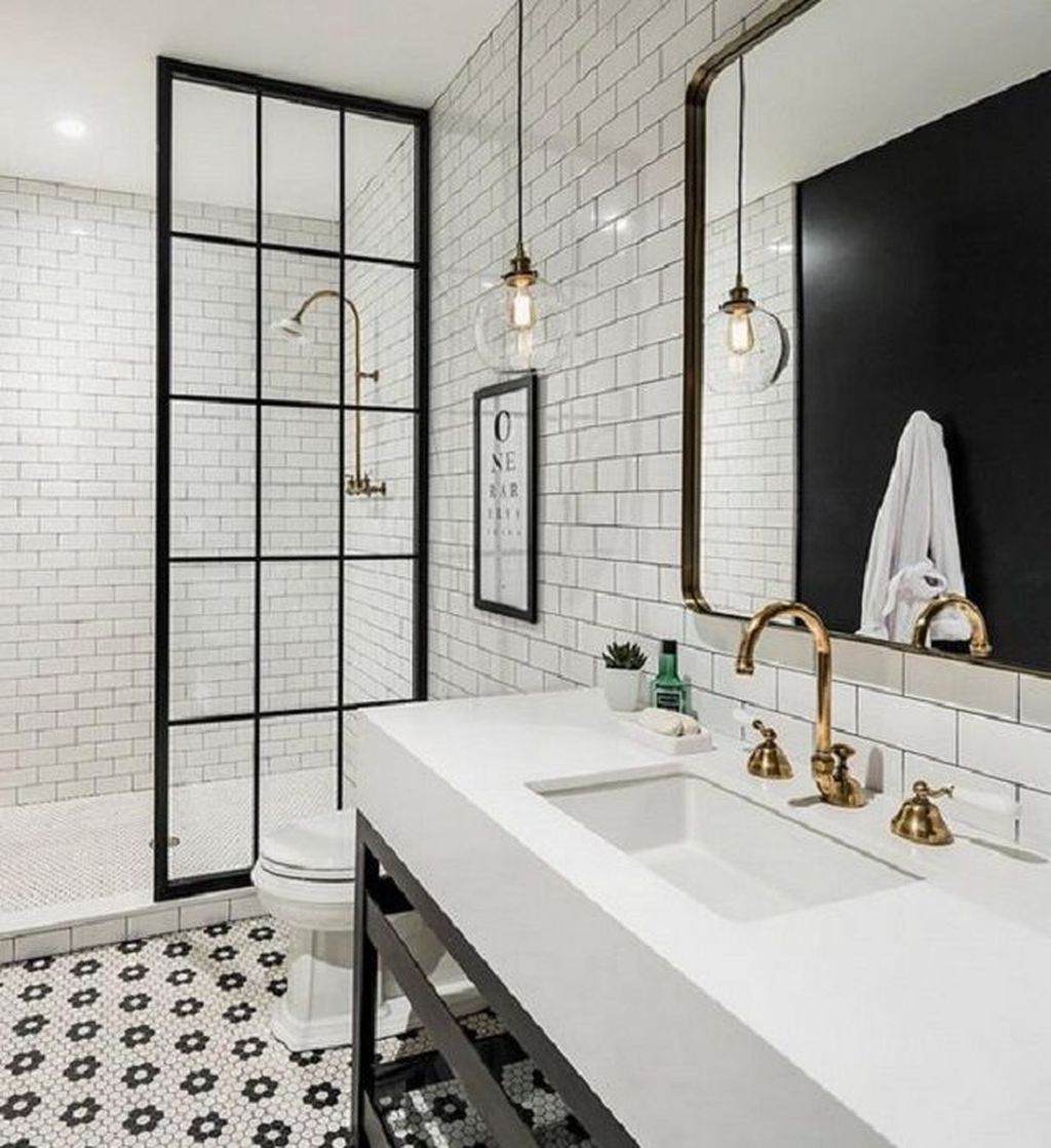 Amazing White Tile Bathroom Design Ideas Looks Elegant 23