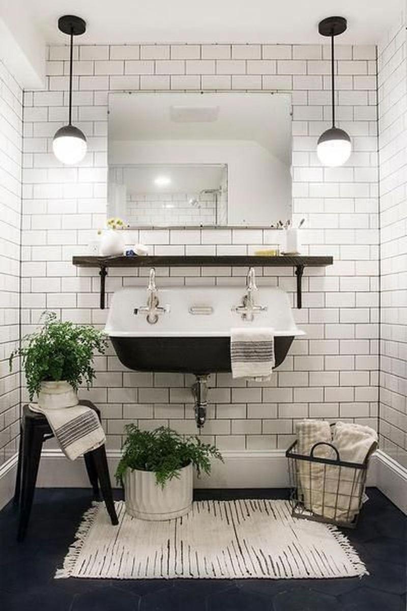 Amazing White Tile Bathroom Design Ideas Looks Elegant 29