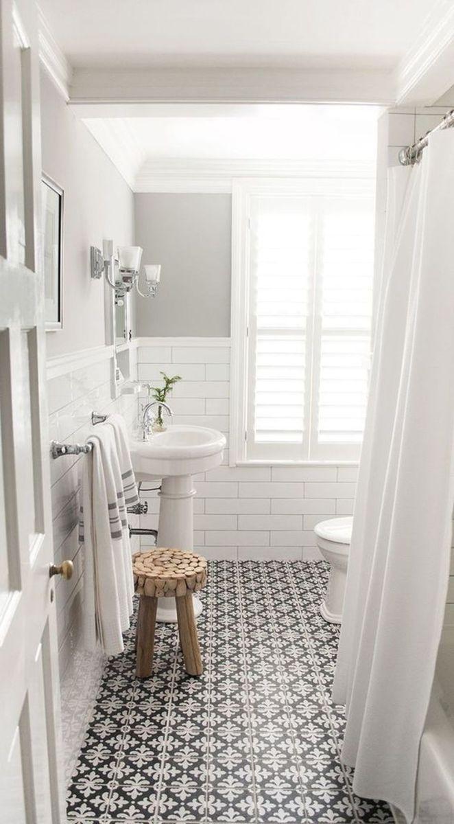 Amazing White Tile Bathroom Design Ideas Looks Elegant 39
