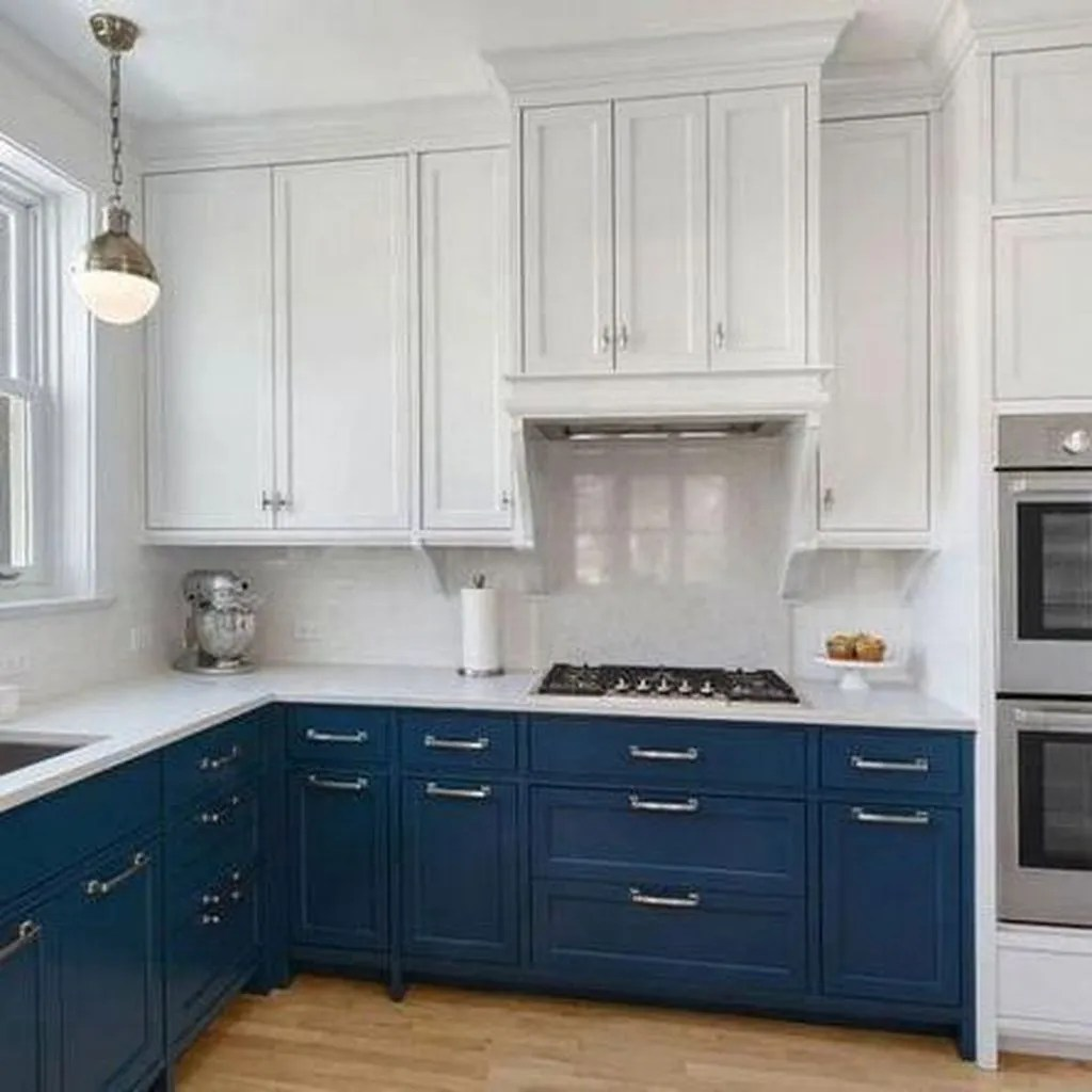 Nice Dark Blue Kitchen Cabinets With Luxurious Accent 01