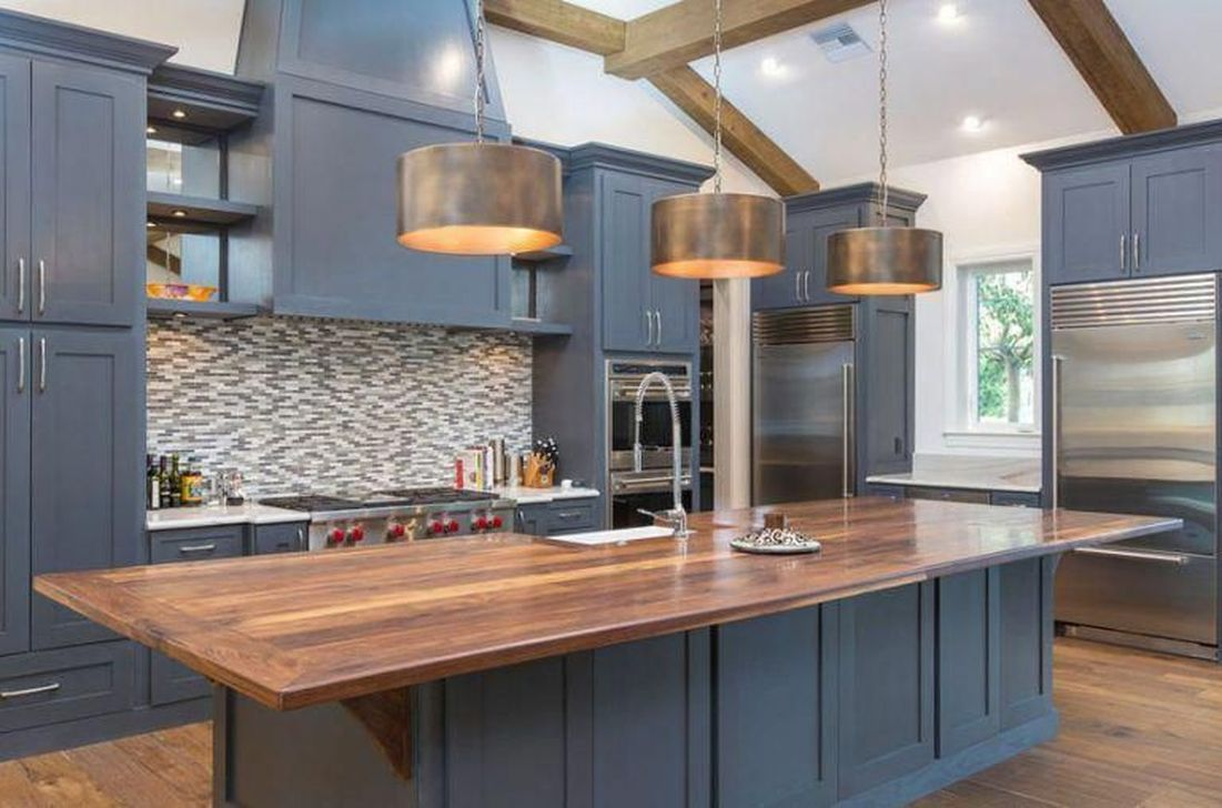 Nice Dark Blue Kitchen Cabinets With Luxurious Accent 02