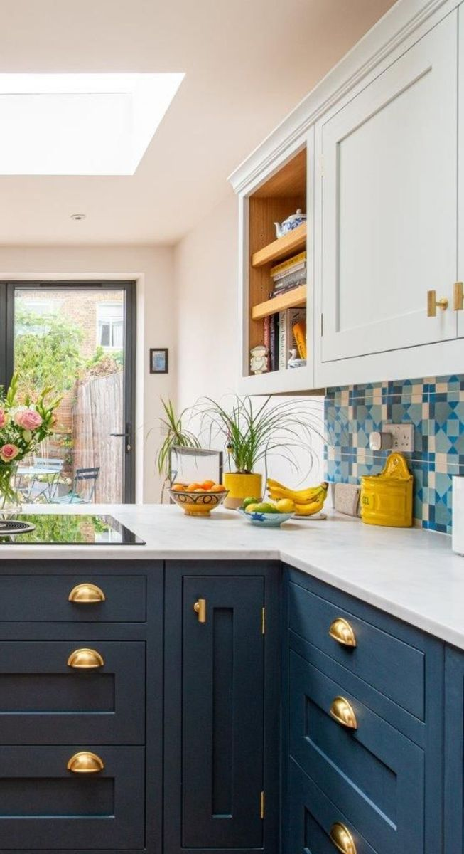 Nice Dark Blue Kitchen Cabinets With Luxurious Accent 04