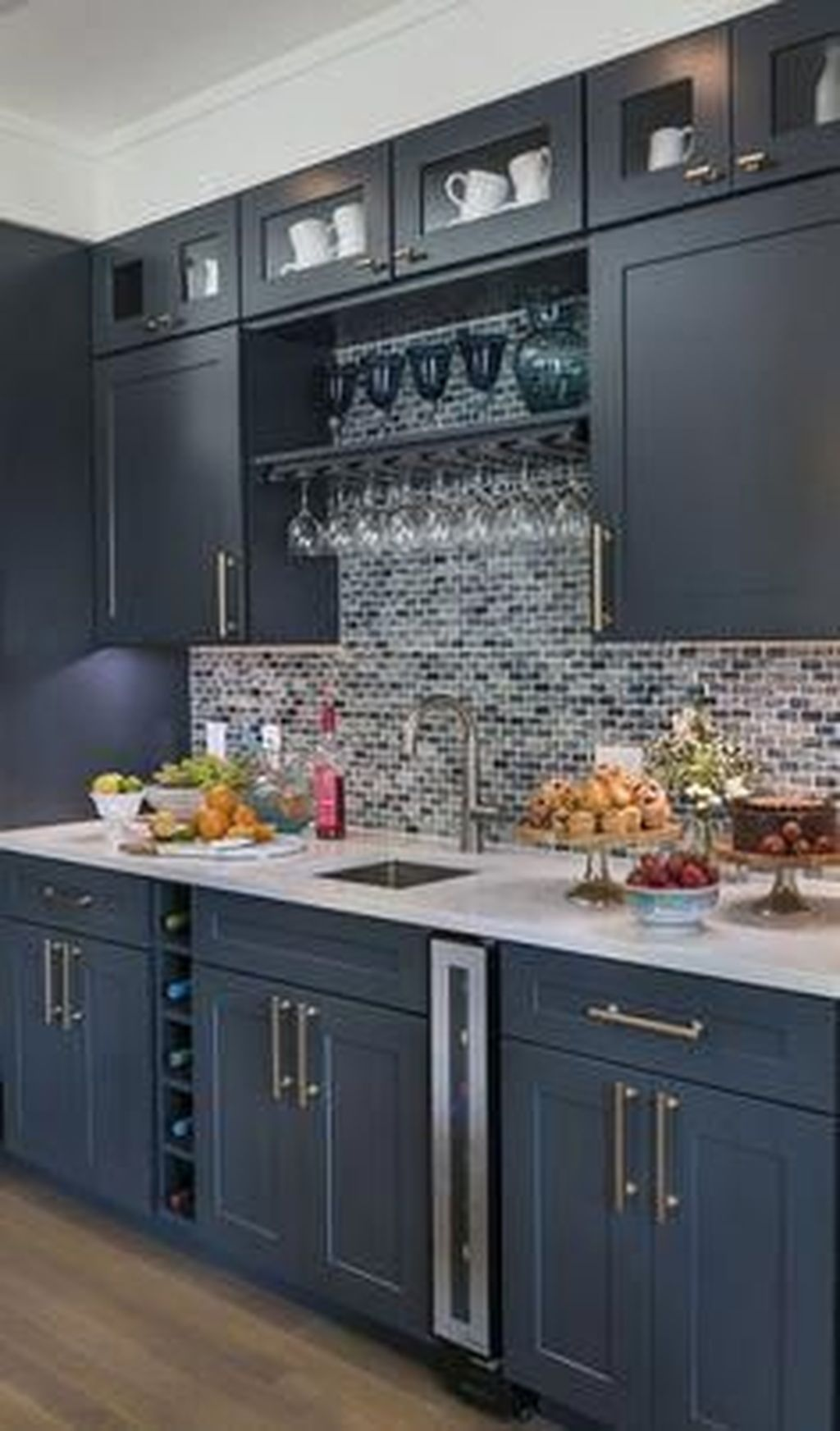 Nice Dark Blue Kitchen Cabinets With Luxurious Accent 13