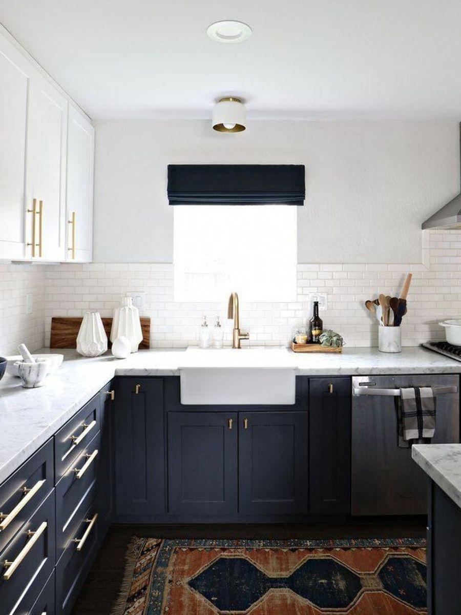 Nice Dark Blue Kitchen Cabinets With Luxurious Accent 20