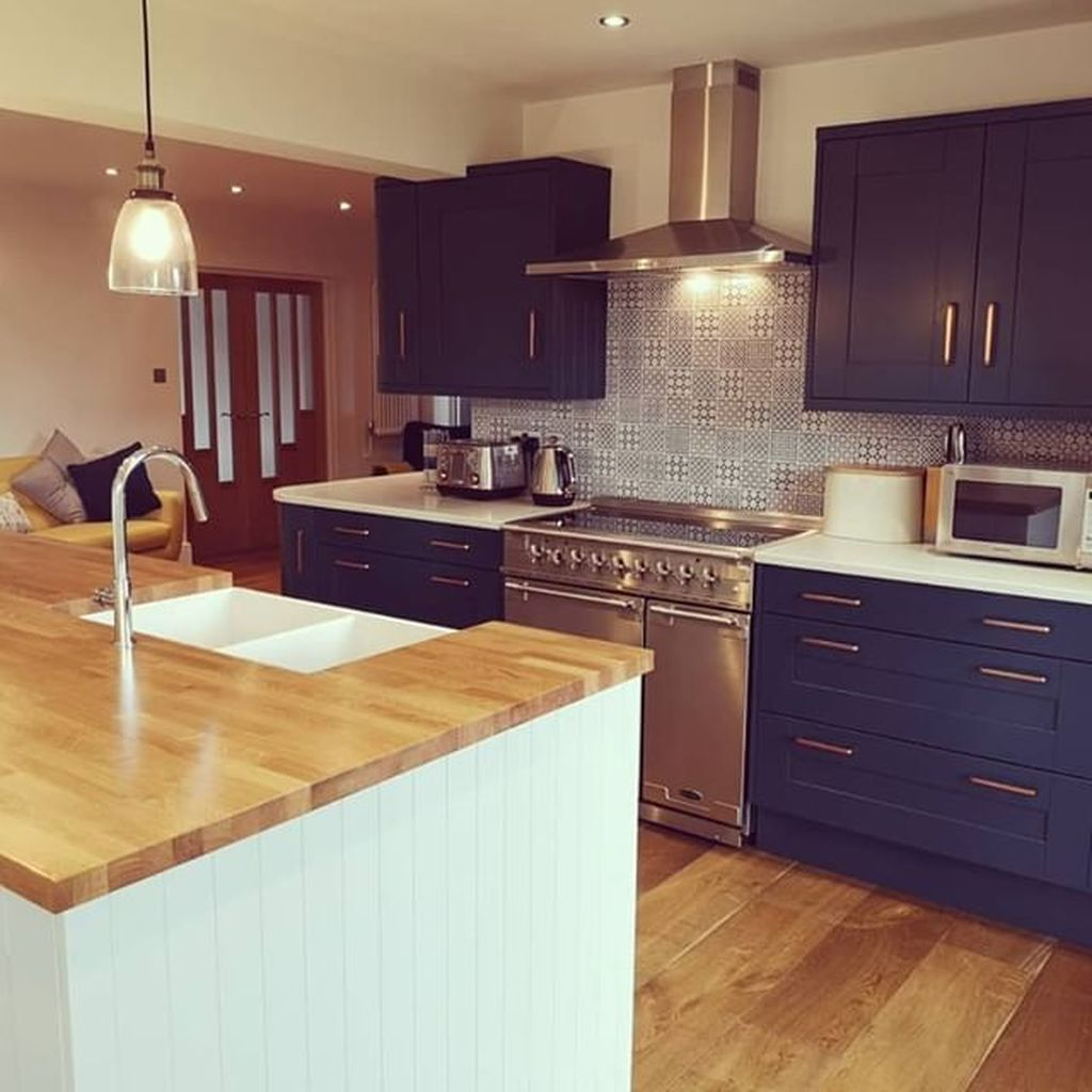 Nice Dark Blue Kitchen Cabinets With Luxurious Accent 24
