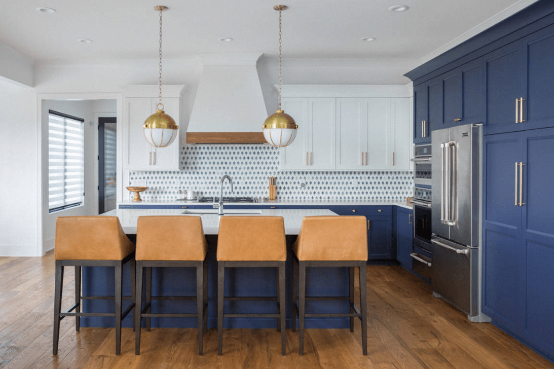 Nice Dark Blue Kitchen Cabinets With Luxurious Accent 30