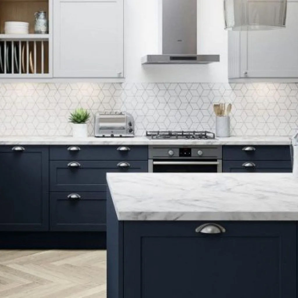 Nice Dark Blue Kitchen Cabinets With Luxurious Accent 37