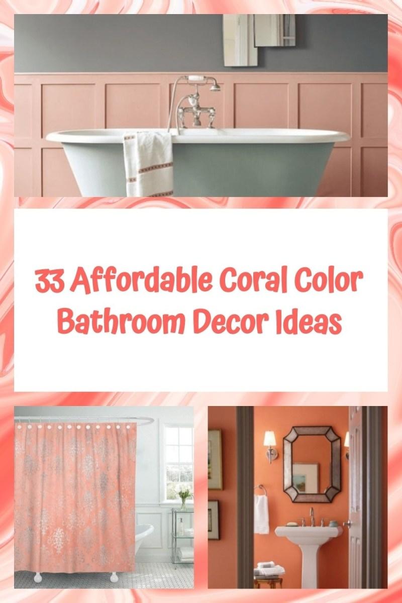 33 Affordable Coral Color Bathroom Decor Ideas