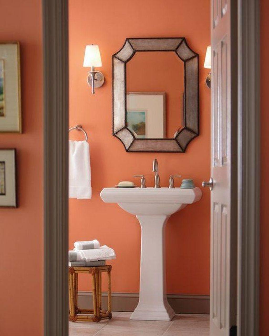 Affordable Coral Color Bathroom Decor Ideas 03