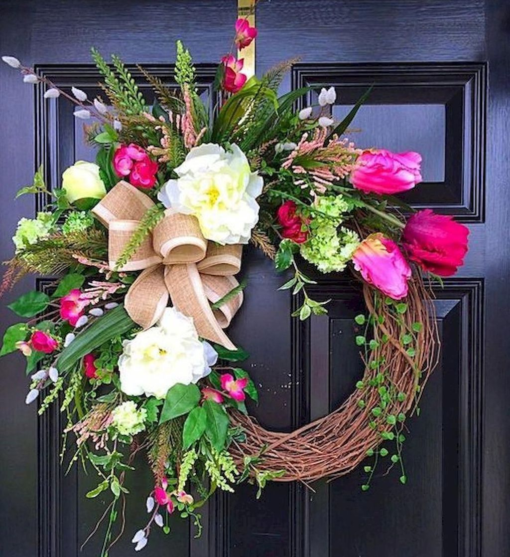 Awesome Spring Wreath Ideas For Front Door Decor 05