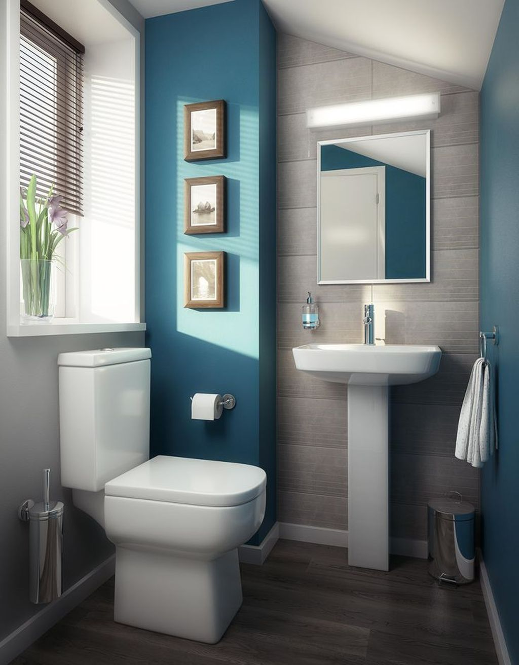 Nice Blue Color Bathroom Decor Ideas 08