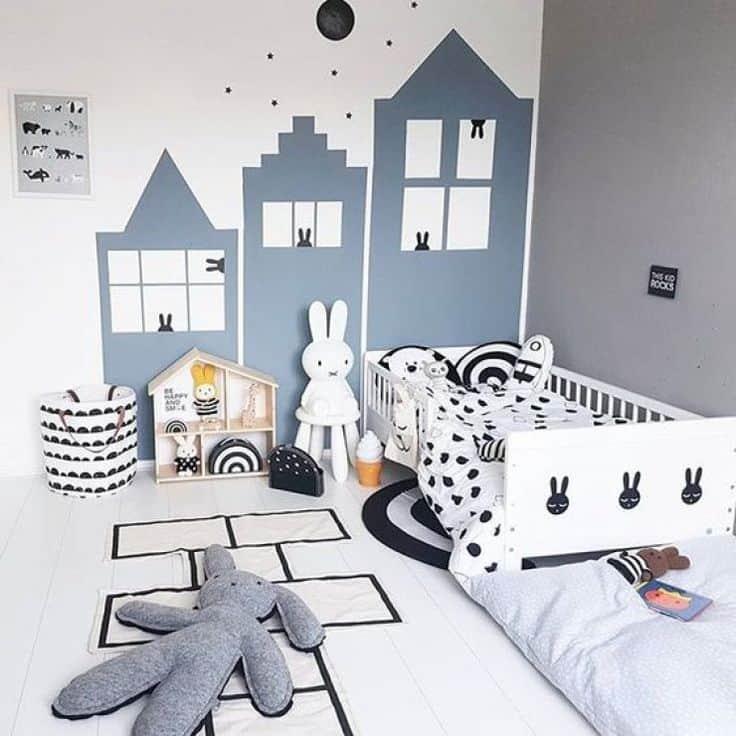 peinture géométrique en forme de maison pour une chambre de gracon