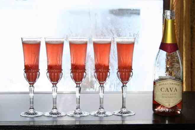 A Peach Melba sparkling cocktail
