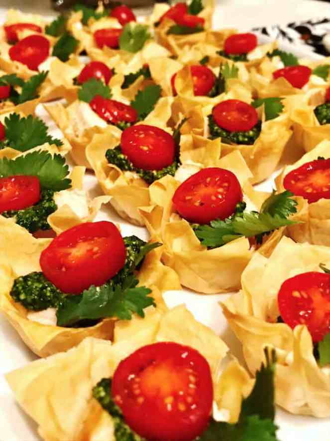 Filled phyllo cups party appetizers