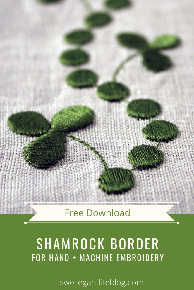Free digital download of shamrock border for hand or machine embroidery.