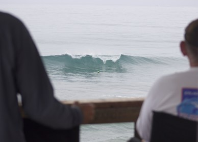 """Judges view. These guys sit on the Pier for hours watching people spin out of waves and milk white water as far as possible. Its a thankless job. Very few people say, """"Hey thanks judges, you're doing a great job!"""" Its mostly, """"I got screwed!"""" Well, thanks judges!"""