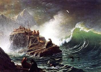 """Seals on the Rocks Farallon Islands""- Albert Bierstadt 1872"