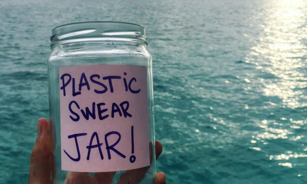 Make your jar for next week's challenge! Each single-use plastic use counts as a 'swear', and you can decide how much to put in the jar each time!
