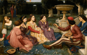 John William Waterhouse, The Decameron, 1916, oil on canvas, 101 x 159cms, Liverpool, Lady Lever Art Gallery.