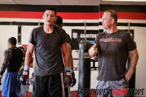 Felipe Chavez (left) working with coach Chris Luttrell (right) at Mean1 MMA