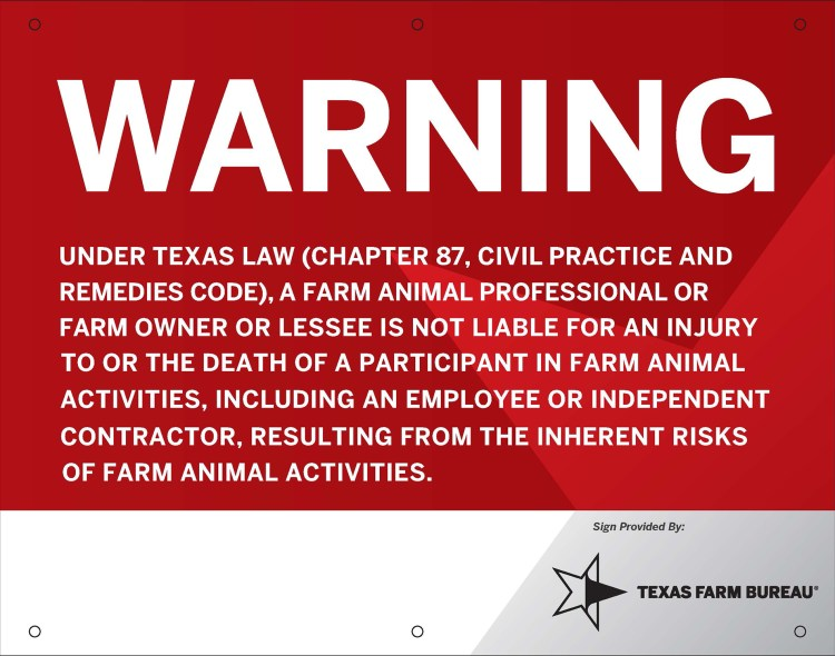 New Warning Sign for Texas Farm Animal Liability Act for September 1