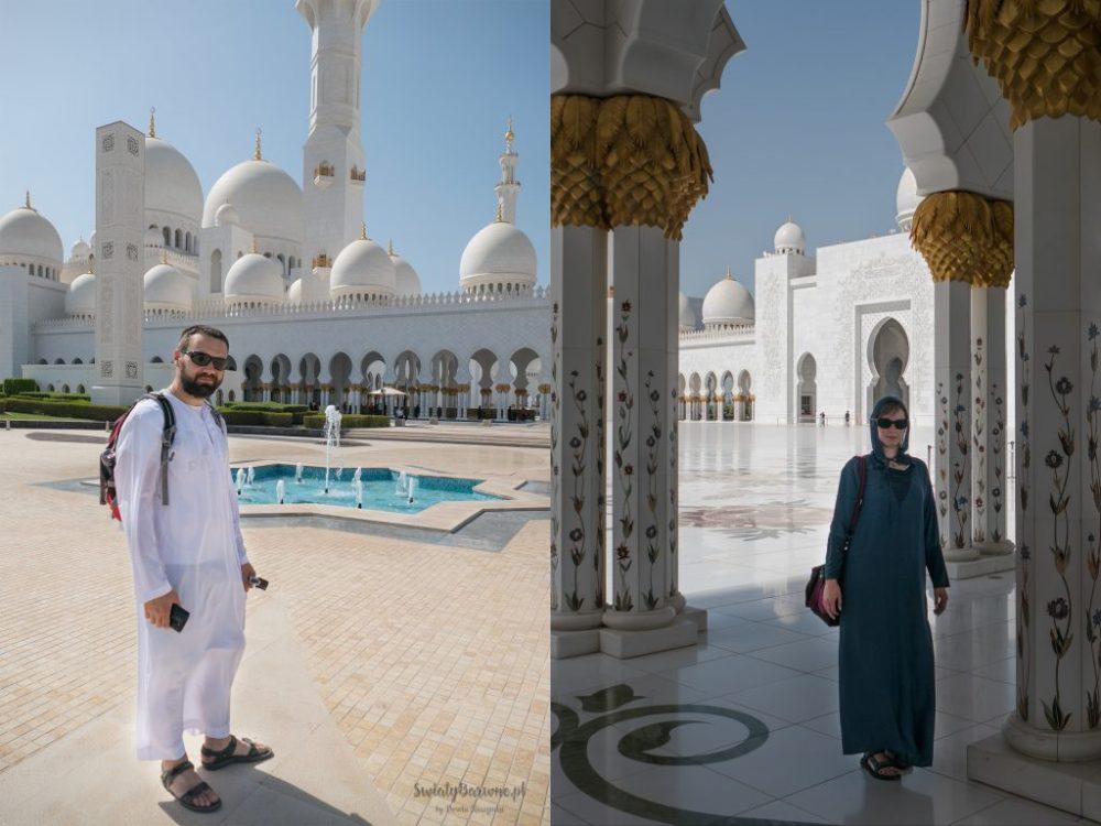 Autorzy bloga w meczecie Sheikh Zayed ubrani w tradycyjne stroje