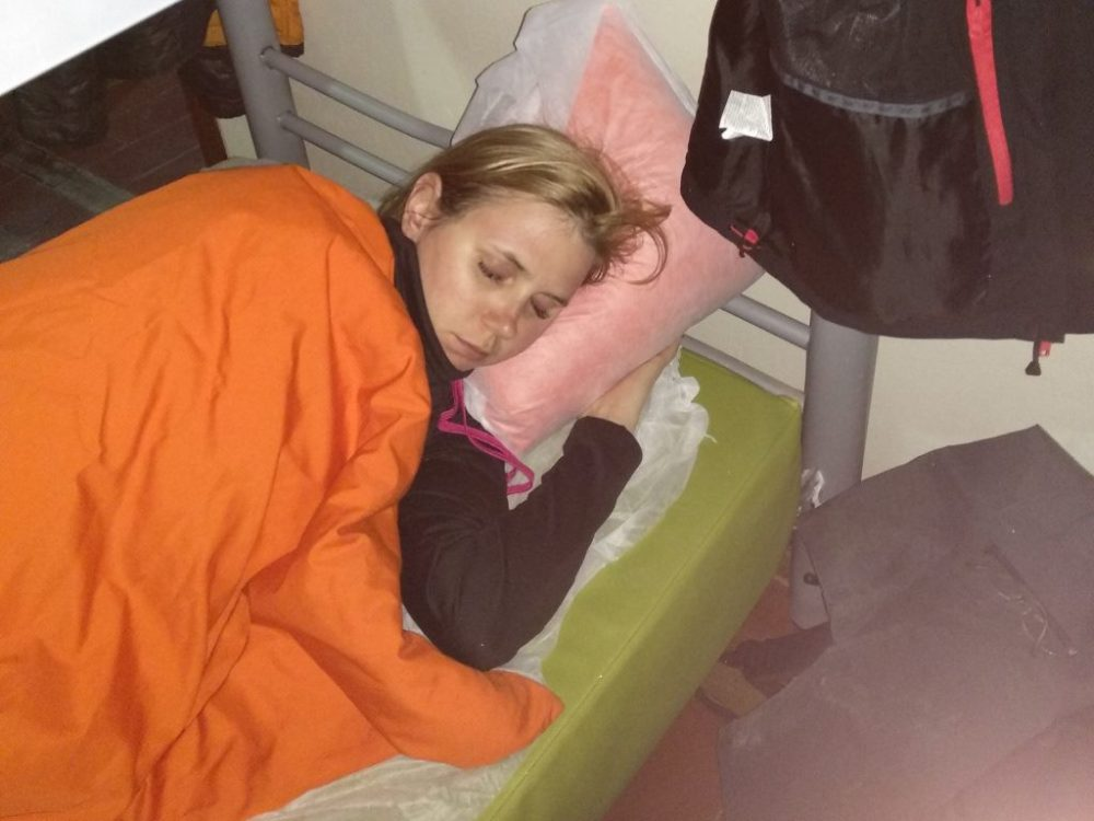 autorka bloga śpiąca w schronisku.