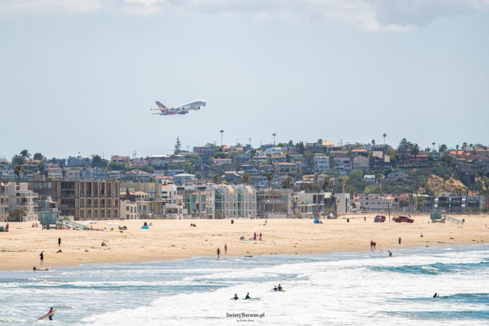 Widok startujących samolotów na Venice Beach