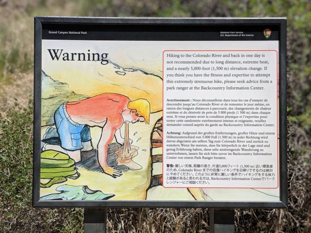 Grand Canyon - Ostrzeżenie na szlaku dotyczące niebezpieczeństw, o których wspomniałam powyżej