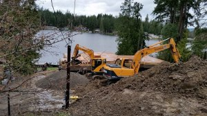 excavator on residential proprty