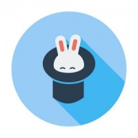 Rabbit in magician hat. Single flat color icon. Vector illustration.