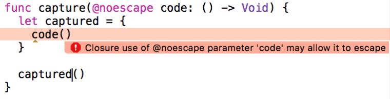 xcode noescape capture error