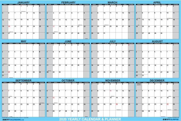 2020 Wall Calendar 24 x 36 Blue SwiftGlimpse Horizontal Orientation