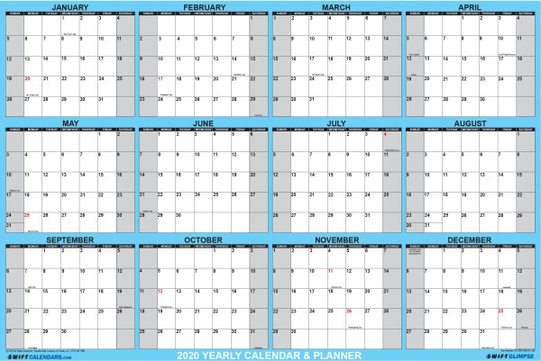 2020 Wall Calendar 32 x 48 Blue SwiftGlimpse Horizontal with Orientation