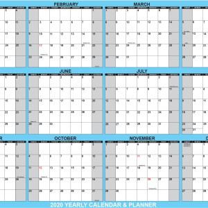2020 Wall Calendar 32 x 48 Blue SwiftGlimpse Horizontal with Orientation