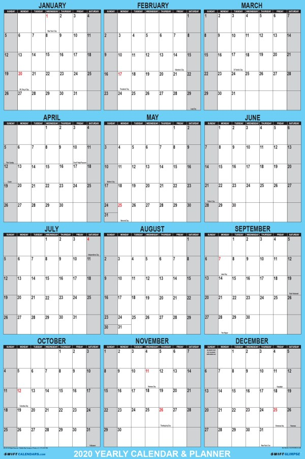 2020 Wall Calendar 32 x 48 Blue SwiftGlimpse with Vertical Orientation